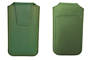 TOTTA PU Leather Pull Up Pouch For Celkon A225 GREEN