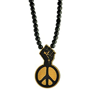 of power and peace sign wooden pendant