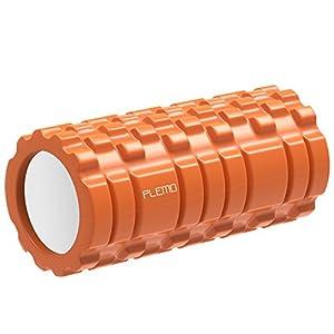 PLEMO Rouleau de Massage Foam Roller en Mousse pour CrossFit Yoga Fitness Musculation Gym, Soulage de Douleurs Musculaires, Résistant à Transpiration, équilibre, Pilates 33 x 14 cm, Orange, Instructions électronique en français