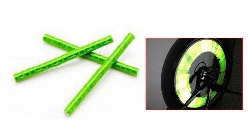12 Pcs Bicycle Wheel Spoke Reflector Reflective Safety Bicycle Bike Wheel Rim Mount Clip Tube Warning Strip Green