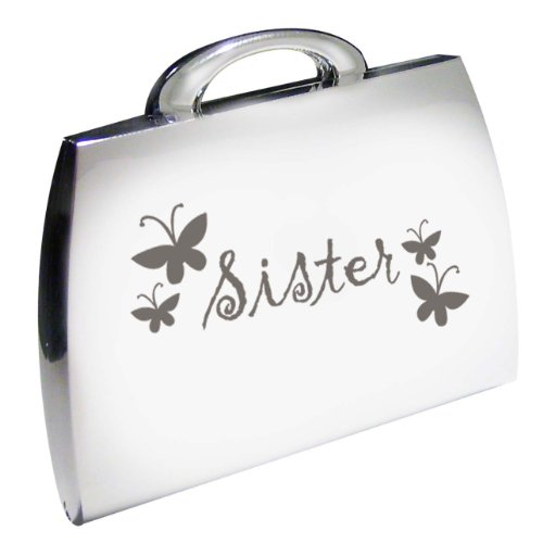 Silver Finish Engraved Sister Handbag Compact