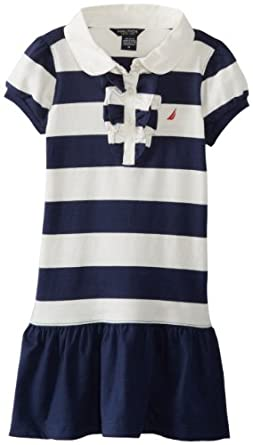 Nautica Girls 2-6X Short Sleeve Rugby Stripe Dress, Naval Blue, 5