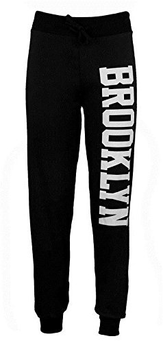 Janisramone Donne Brooklyn corridori stampa il jogging tuta pantaloni Brooklyn Joggers Black ML