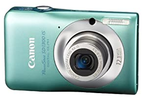Canon PowerShot SD1300IS 12.1 MP Digital Camera with 4x Wide Angle Optical Image Stabilized Zoom and 2.7-Inch LCD (Green)
