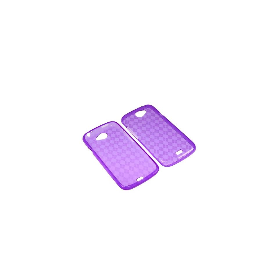 BW TPU Sleeve Gel Cover Skin Case for T Mobile HTC One S  Purple Checker