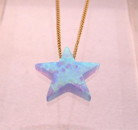 Blue Opal Star Pendant Gold Filled Necklace