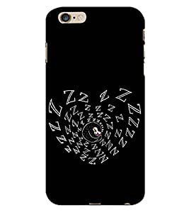99Sublimation Heart shape in Black colour 3D Hard Polycarbonate Back Case Cover for Apple iPhone 6S