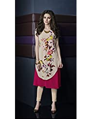 Deepkala Silk Heritage Women's Beige And Pink Georgette Printed Kurti