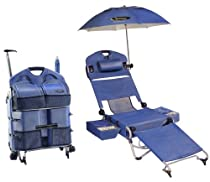 "LoungePac - The Complete Beach Chair -6 Products in 1 ""Lounge in Luxury!"" Umbrella Included - Sound System Not Included (Sold Separately)"