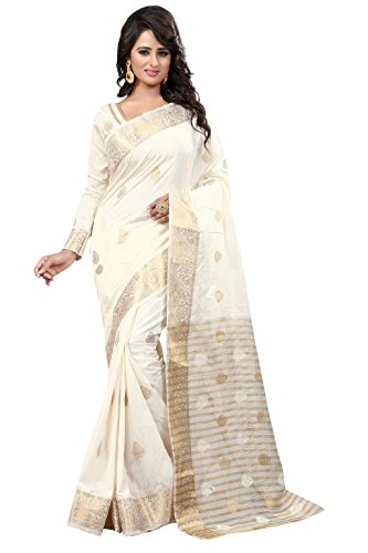 Holyday Women's Banarasi Silk Brocade Patch Saree_ Off White (With Blouse)