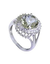 Riyo Green Enthralling Green Amethyst Silver Jewelry Business Mothers Ring Women 12 Srgam6-28014