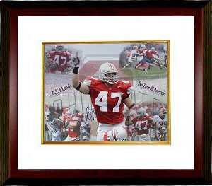 A.J. Hawk Signed Picture - AJ 16x20 Collage Custom Framed - Autographed College Photos