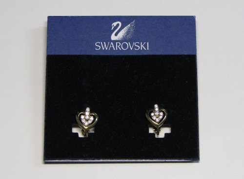 Swarovski Earrings Set - Gold Hearts w/Crystals Womens - Jewelry - Blowout Clearance Sale