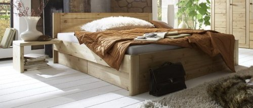 Juego de ropa de cama para cama individual de las camas con cajones de madera maciza de pino, madera, blanco, 180 x 200 cm