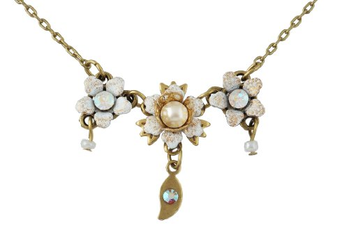Michal Negrin Necklace with Hand-Painted Flowers, Leaf Charm, Faux Pearl and Aurora Borealis Swarovski Crystals