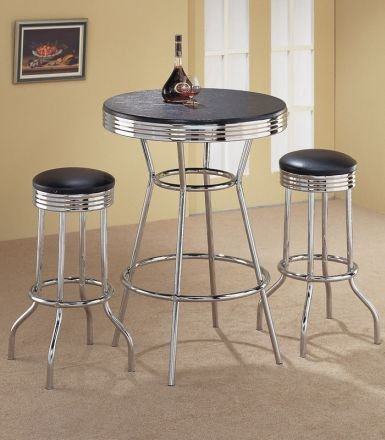 Chrome Finish Bar Table & 2 Stool Set