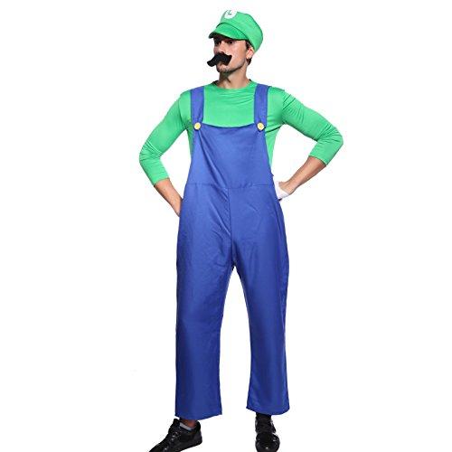 Super Mario Bros. Luigi in Gr.L Klempner Herren Kostuem mit Bierbauch Karneval Fasching Herrenkostuem