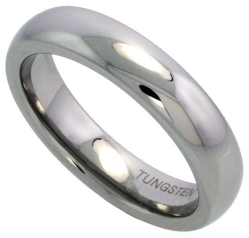 Sabrina Silver Tungsten 5mm (3/16 in.) High Polished Comfort Fit Domed Wedding Band Ring