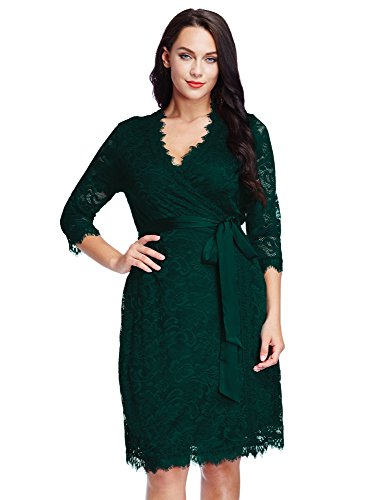 LookbookStore Women's Plus Size Green Lace 3/4 Sleeves Formal True Wrap Dress 3X