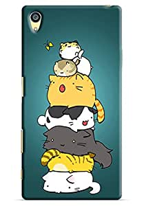 Omnam Too Many Cats Lying On Each Other And Enjoying Back Cover Case For Sony Xperia Z5 Premium