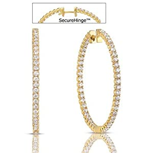 14k Yellow Gold Diamond Hoop Earrings - JewelryWeb