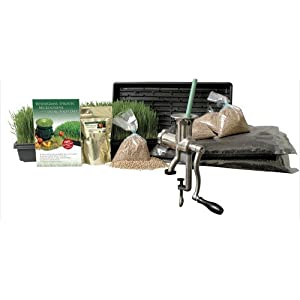 Organic Wheatgrass Growing Kit w/ Hurricane Stainless Steel Wheat Grass Juicer- Everything to Grow &amp; Juice Wheatgrass