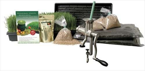 Organic Wheatgrass Growing Kit w/ Hurricane Stainless Steel Wheat Grass Juicer- Everything to Grow & Juice Wheatgrass