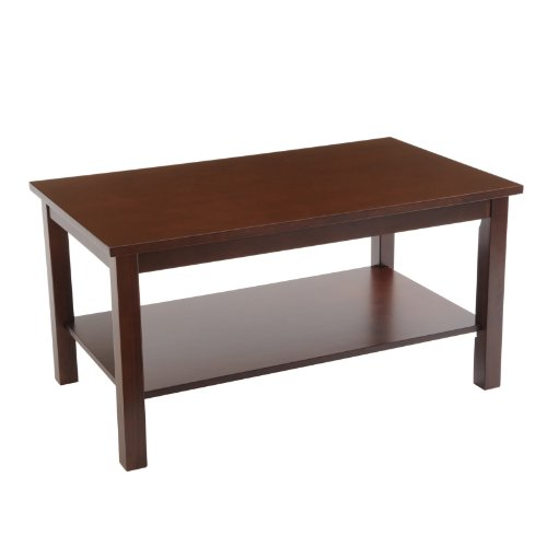 Buy Low Price Bay Shore Collection Round Coffee Table With Lower Shelf Espresso 30 Inch