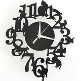 《ELEEJEオリジナル》選べる! 黒猫 掛け時計 & 黒猫 ウォール ステッカー セット アンティーク インテリア 壁掛け 時計 かわいい (デザインA)