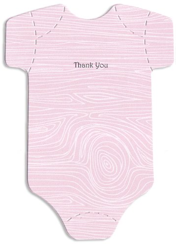Baby Thank-You Cards - Cute Onesies - Pink Woodgrain Pattern - Baby Girl Thank-You Notes