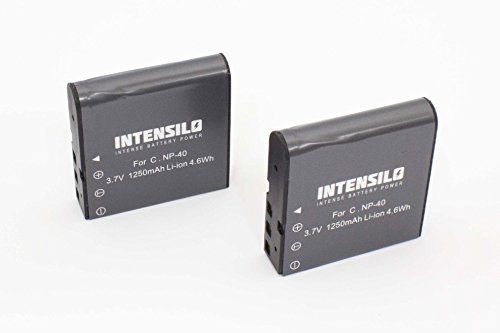INTENSILO 2 x Li-Ion Akku 1250mAh (3.7V) für Videokamera Camcorder Silvercrest DV-1000HD, DV-5300HD wie NP-40, PAC-0040.