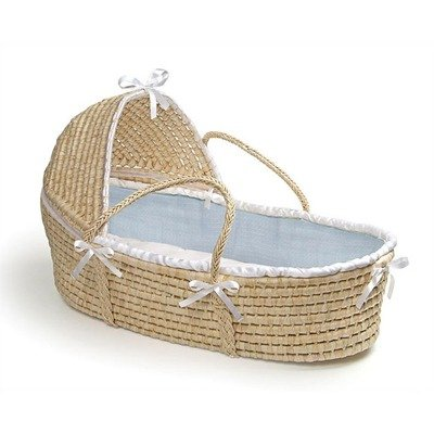 cheap wicker daybed hooded moses basket with blue waffle. Black Bedroom Furniture Sets. Home Design Ideas