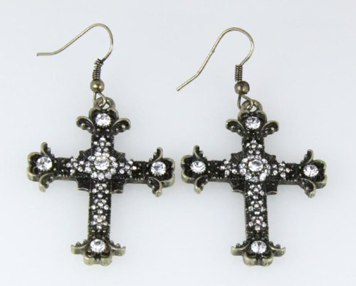 5030025 Cross Earrings CZ Diamond Antique Brushed Filigree Christian Religious