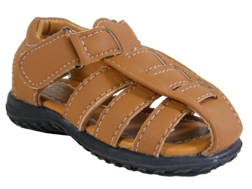 New Boys Kids Tan Brown Velcro Flat Summer Sandals Flats Sandal Size 4.5 6 8.5