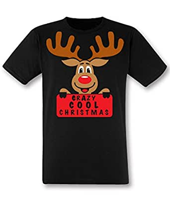 Hoodiii Mens Premium Printed T Shirt Crazy Cool Christmas Reindeer