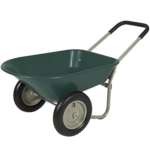 Best Choice Products Dual Wheel Home Yard Rover Wheelbarrow Garden Cart (Wheelbarrow Dual Wheel compare prices)