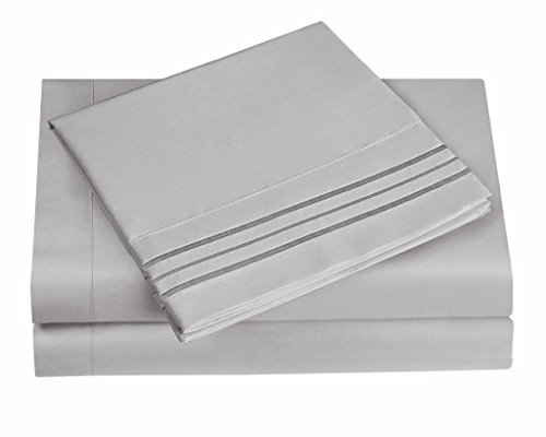 1800 Series Egyptian Collection 3 Line Microfiber 4 Piece Bed Sheet Set (Queen, Silver Grey)
