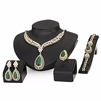 Moochi 18K Gold Plated Green Beads Crystal Chain Necklace Earrings Ring Bracelet Jewelry Set