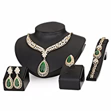 buy Moochi 18K Gold Plated Green Beads Crystal Chain Necklace Earrings Ring Bracelet Jewelry Set
