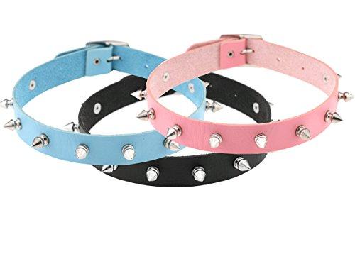 Esenfa 3 pezzi con colletto Unisex, stile Punk Goth, motivo: Ragazza Emo, a forma di cuore Collana girocollo (16 in 40,64 cm, black pink blue