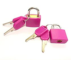 1 Piece Cute and Beautiful Assorted Colors Plastic Coated Brass Rectangular Padlock for Travel Luggage, Suitcase, Bags, Toolbox, Cabinets, Cupboards etc for travelling with set of 2 keys. Multicolor.