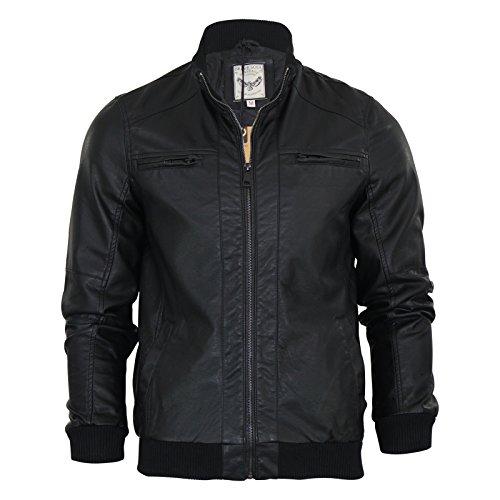 Giacca da uomo Brave Soul Leroy Similpelle Retro Harrington Bomber giacca nero small