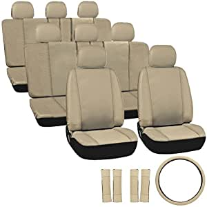 OxGord Leatherette Seat Cover Set for Mitsubishi SUVs, Airbag Compatible, Split Bench, Tan