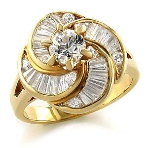 Jewelry - 1 Carat Clear CZ Gold Tone Ring SZ 6
