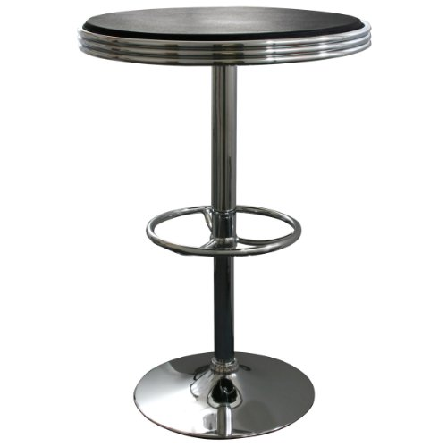 AmeriHome Adjustable Height Soda Fountain Style Bar Table, Black