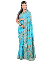 Designer Fashionable Blue Colored Embroidered Faux Georgette Saree By Triveni