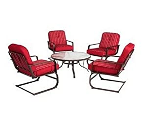 Lawson Ridge 5-piece Patio Conversation Set, Red, Seats 4 Glass Top Table and Four Cushioned Chairs. Guaranteed. Extra Comfy Sling Chairs Have Reversible Back Cushions and Spring Base with Rocking Motion. Enjoy Deck Dining or a Backyard Meal in Style. by
