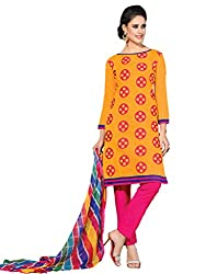 Anjali Presents Fancy yellow & Pink Coloured Embroidered Dress Material