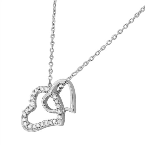 Sterling Silver White Gold-Tone Double Open Love Heart Crystals Cz Pendant Necklace With Chain