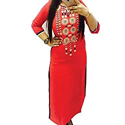 ZHot Fahion Woman Embroidered semi-stitched Selfie Kurti In Georgette Fabric (ZHKRT1018_Free Size_Red)